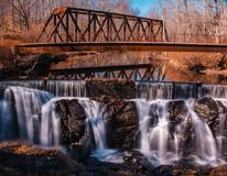 Yantic Falls Under The Railroad Bridge Stock Photography