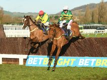 Horse Racing. Yanworth 1st near side and sizing tennessee 2nd far side seen here jumping the last at cheltenham races 1-1-18 Stock Image