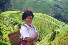 Yao etniczna kobieta na ryżowych polach Zdjęcia Royalty Free