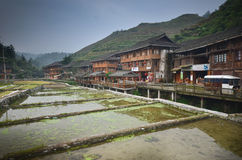 Yao minoritys village Dazhai Royalty Free Stock Photo