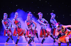 The Yao nationality copycat-The campus show. In December 27, 2014, the Department of dance of the students are for the annual graduation performance report in Stock Images