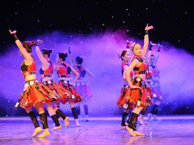 The Yao nationality copycat-The campus show. In December 27, 2014, the Department of dance of the students are for the annual graduation performance report in Royalty Free Stock Images