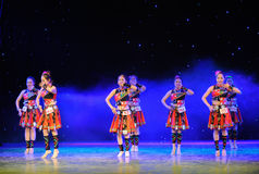 The Yao nationality copycat-The campus show. In December 27, 2014, the Department of dance of the students are for the annual graduation performance report in Royalty Free Stock Image