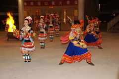 Yao nationality song and dance. Yao nationality dance, to treat a faraway friend Stock Photo
