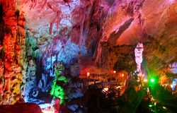 Yaolin Cave. Colorful lights inside Yaolin Cave in Tonglu, Zhejiang Province, China royalty free stock photos