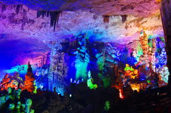 Yaolin Cave in China. Colorful stalactites in Yaolin Cave in ZheJiang Province of China stock image