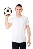 Yaong man with soccer ball Royalty Free Stock Photography