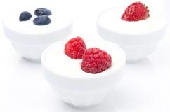 Yaourt avec différentes baies fraîches dans des cuvettes sur le blanc Photos stock