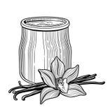 Yaourt dans un pot en verre La fleur de la vanille Illustration délicieuse saine et naturelle de vecteur de petit déjeuner illustration libre de droits
