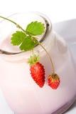 Yaourt et fraisiers communs photographie stock