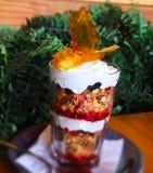 Yaourt et granola avec des fruits Image libre de droits