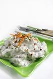 Yaourt et salade d'haricots verts Photos libres de droits