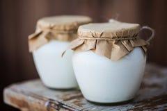 Yaourt fait maison de lait dans des pots Image stock
