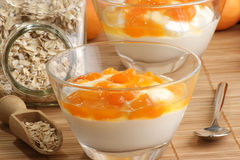 yaourt frais avec la compote effectuée à la maison d'abricot Photo libre de droits