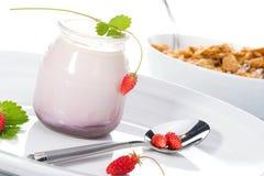 Yaourt, fraisiers communs et Photographie stock libre de droits