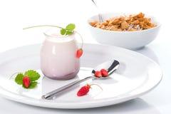 Yaourt, fraisiers communs et Images libres de droits