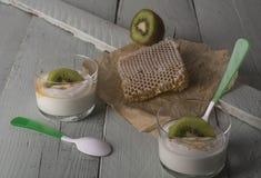 Yaourt grec blanc avec le kiwi Photos stock
