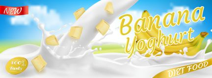 Yaourt réaliste de banane du vecteur 3d, design d'emballage Photos libres de droits