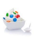 Yaourt surgelé de vanille délicieuse Images libres de droits