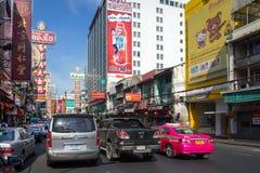 YAOWARAT, BANGKOK, TAILANDIA -10 GENNAIO 2016: Traffico nel mornin Immagine Stock Libera da Diritti