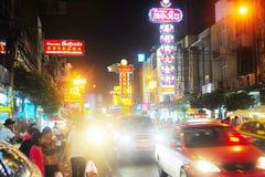 Yaowarat droga przy nocą Zdjęcia Stock