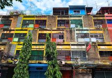 Yaowarat-Gebäude, Bangkok, Thailand stockfotografie