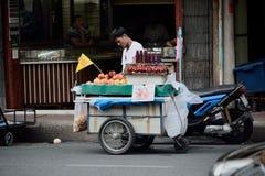 Yaowarat Road. Bangkok, Thailand - October 1, 2014: People are selling juice on Yaowarat Road at Nine Emperor Gods Festival, Bangkok, Thailand Royalty Free Stock Photography