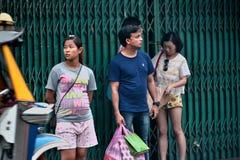 Yaowarat Road. Bangkok, Thailand - October 1, 2014: People are touring on Yaowarat Road at Nine Emperor Gods Festival, Bangkok, Thailand Royalty Free Stock Photo