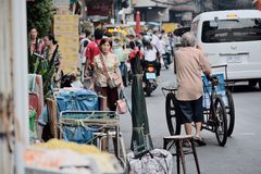 Yaowarat Road. Bangkok, Thailand - October 1, 2014: People are touring on Yaowarat Road at Nine Emperor Gods Festival, Bangkok, Thailand Stock Photo