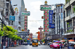 Yaowarat Road in Chinatown, Bangkok. The busy and colorful Yaowarat Road in Chinatown, Bangkok, Thailand royalty free stock images