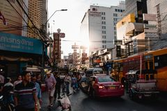 Yaowarat Road is a main street in Bangkok`s Chinatown. stock images