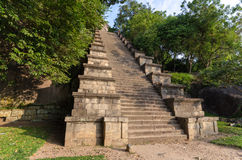 Yapahuwa Fortress, Sri Lanka. Yapahuwa An ancient fortress and capital built in the early 13th century. Rock carvings flank the long steep staircase to the top stock photography