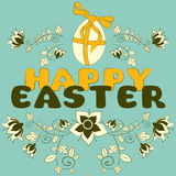 Yappy easter vector card. Happy easter vector card with flowers Royalty Free Stock Photos
