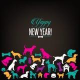 Yappy Hund des neuen Jahres silhouettiert Grußkartendesign Stockfotos