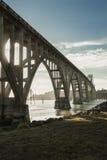 Yaquina海湾桥梁在纽波特,俄勒冈 库存图片