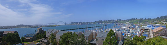 Yaquina Bay Bridge, and fishing fleet marina Royalty Free Stock Images