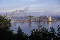 The Yaquina Bay Bridge in Newport, Oregon Royalty Free Stock Photos