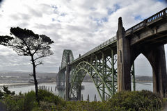 Yaquina Bay Historic Bridge. An arch bridge spanning an estuary in coastal Newport, Oregon Royalty Free Stock Images