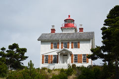 Yaquina Bay Lighthouse Oregon Coast Haunted. The Yaquina Bay lighthouse on the Oregon Coast. Built in 1871 This lighthouse building is the only existing Oregon stock photos
