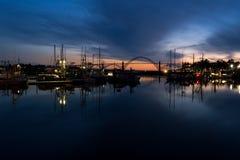 Yaquina Bay and Newport marina, Oregon, at twilight Stock Images