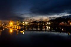Yaquina Bay and Newport marina, Oregon, at twilight Stock Photos