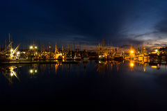 Yaquina Bay and Newport marina, Oregon, at twilight Royalty Free Stock Images