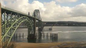 Yaquina Bay Shellfish Preserve Newport Bridge Oregon River Mouth stock footage