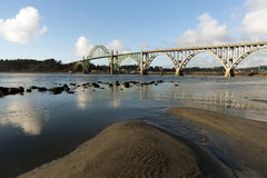 Yaquina Bay Shellfish Preserve Newport Bridge Oregon River Mouth Stock Images