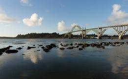 Yaquina Bay Shellfish Preserve Newport Bridge Oregon River Mouth Royalty Free Stock Image