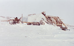 Yaranga - family habitation of the indigenous people Chukchi in tundra. Cold and warm Yaranga (tent-like traditional mobile home) - family habitation of the stock images