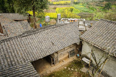 Yard of aged Chinese farmhouse in flowering spring Royalty Free Stock Photo