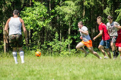 Yard Amateur football in the Kaluga region in Russia. Football game is very popular among young people and students. For this reason, in Russia often are stock images