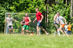 Yard Amateur football in the Kaluga region in Russia. Football game is very popular among young people and students. For this reason, in Russia often are royalty free stock photo