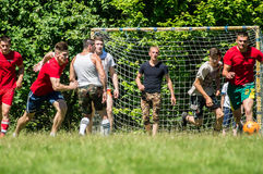 Yard Amateur football in the Kaluga region in Russia. Football game is very popular among young people and students. For this reason, in Russia often are royalty free stock images